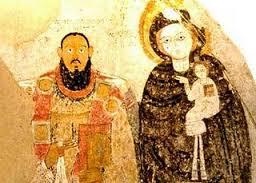 Nubischer Bischof mit Maria samt Jesuskind in der Kathedrale von Faras