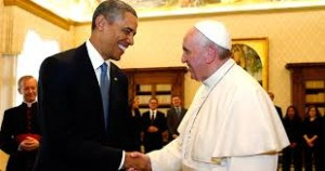 Papst Franziskus mit Obama